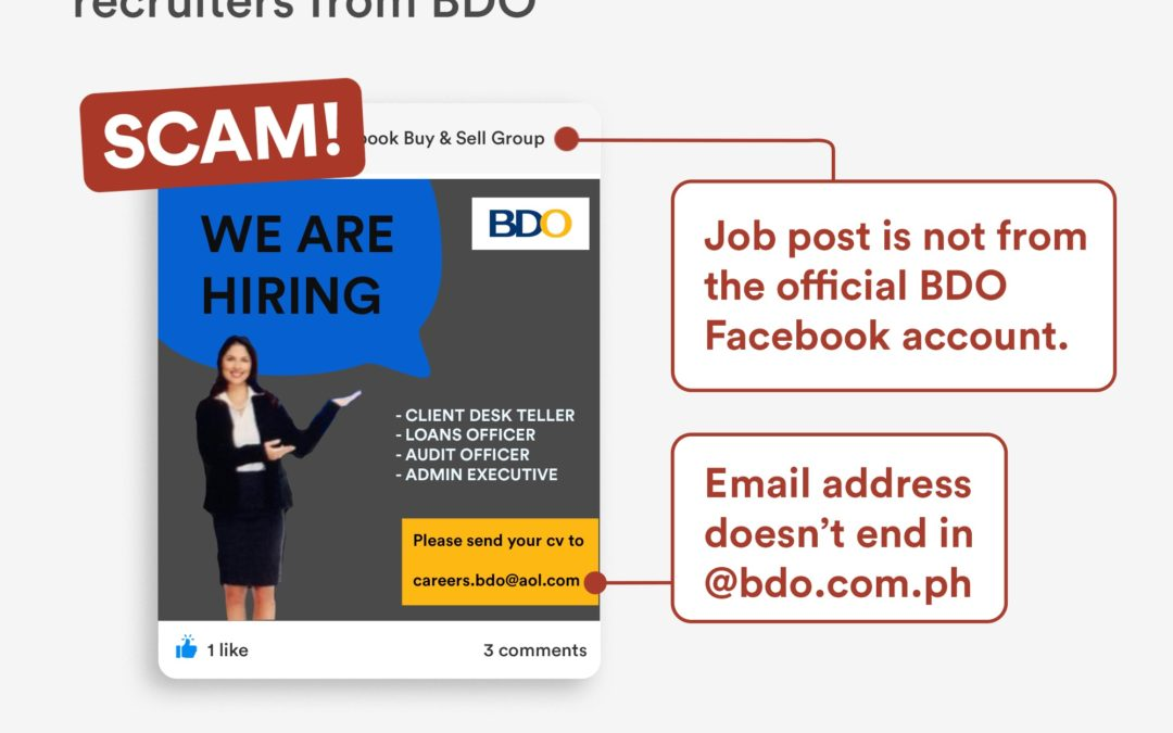 "BDO warns job seekers: ""Beware of recruitment scams!"""